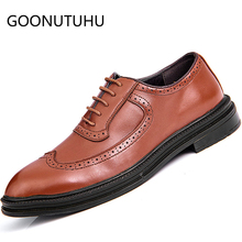 2019 new fashion men's shoes casual leather male classic solid brown black lace up shoe man party brogue shoes for men hot sale mycolen new fashion mens office lace up classic leather shoes men s casual party driving man vintage carved brogue flats