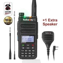 Radioddity GD 77 Dual Band Dual Slot di Tempo Digitale A Due Vie Radio Walkie Talkie Ricetrasmettitore DMR Motrobo Fila 1 Livello 2 + cavo Mic
