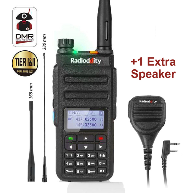Radioddity GD 77 Dual Band Dual Time Slot Digital Two Way Radio Walkie Talkie Transceiver DMR Motrobo Tier 1 Tier 2 + Cable Mic