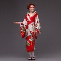 Novelty Red Japanese Women Kimono With Obi Sexy Yukata Vintage Party Prom Dress Performance Dance Cosplay Costume One Size B 010