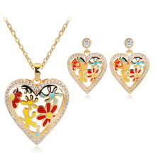 Fashion Enamel Heart Jewelry Set Yellow Gold Color Colorful Painting Bridal High Quality Female Accessories