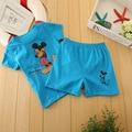 Детская одежда летом стиль Футболка Симпатичные зебра с коротким рукавом + брюки мальчики девочки одежда наборы