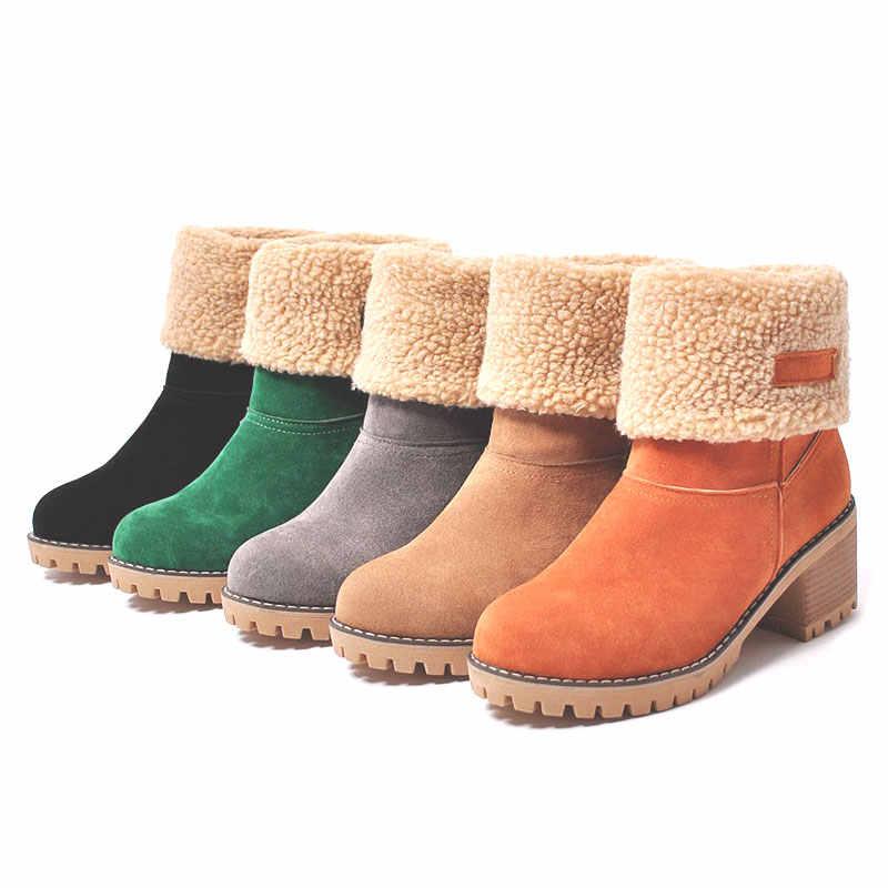 Kadın Botları Faux Kürk Sıcak Kar Botları Kış Kadın Blok Topuklu Platform yarım çizmeler Bayanlar Ayakkabı Artı Boyutu