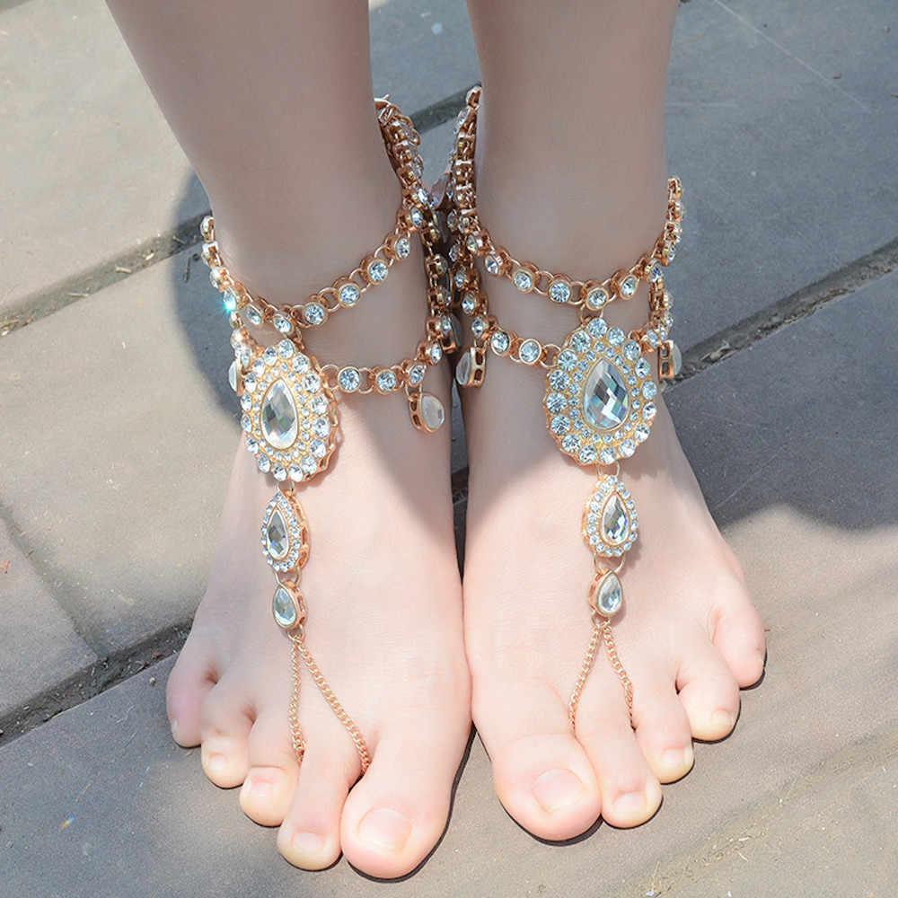 Diomedes アンクレット自由奔放に生きるビーチゴールデンシルバークリスタル宝石多層タッセルアンクレットチェーン裸足サンダル女性 July8