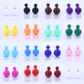 Free Shipping Vintage Big And Small Front Back Design Fashion Elegant Lady Double Faced Stud Earrings Candy Colours Mixed 12pair