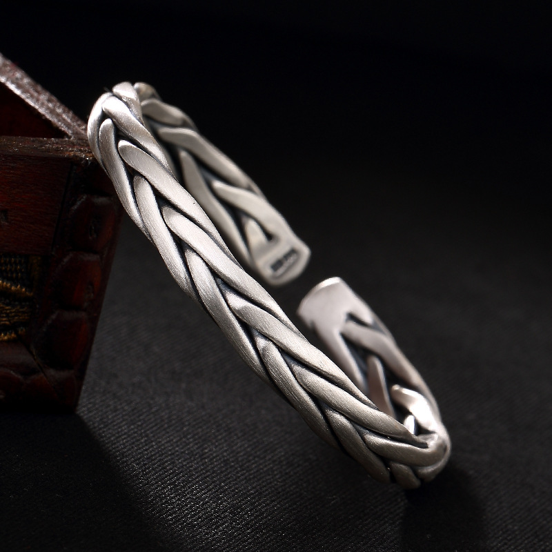 Silver Hand-woven Personality Thai Silver Male Lady Bracelet Wholesale Silver Ways Openings s999 fine silver lotus pisces play lady bracelet wholesale sterling silver folk style ways openings
