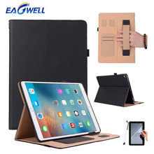 Luxury PU Leather Case Cover For iPad 9.7 inch 2017 Smart Case Flip Stand With Card Slots Hand Grip Strap Tablets Cover Shell
