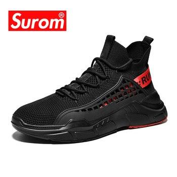 0cc8b16bdbb02 SUROM Beyaz Sneakers Erkek Nefes Örgü Hafif Tenis Masculino Adulto Erkek  Ayakkabı Rahat Moda Dantel Up kaymaz Sneakers