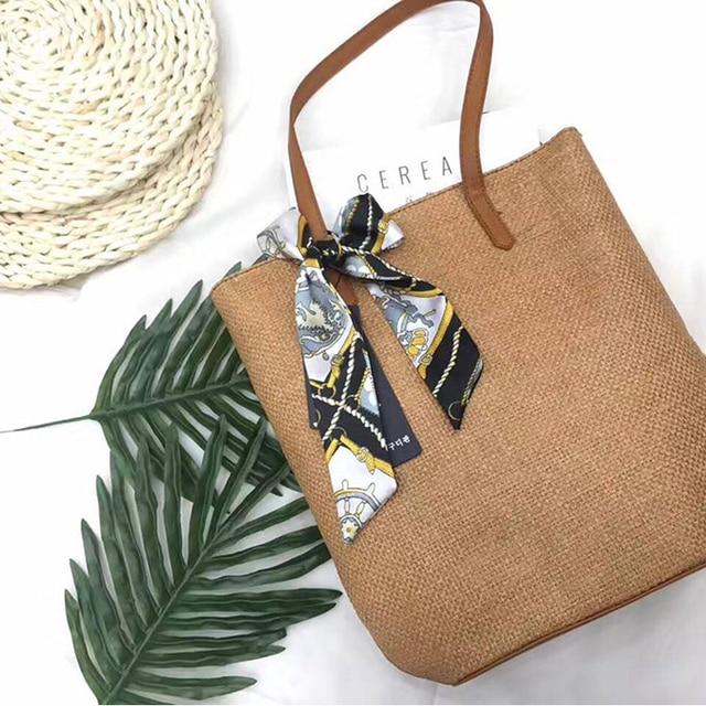 Новые модные женские сумки лето леди свежий ленты лук соломы ткань Tote плеча пляжные сумки большой Ёмкость Shopper клапаном сумка BA179