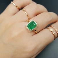 Lii Ji 18K Gold 2.55Ct Natural Emerald Diamond Ring CN size NO.14