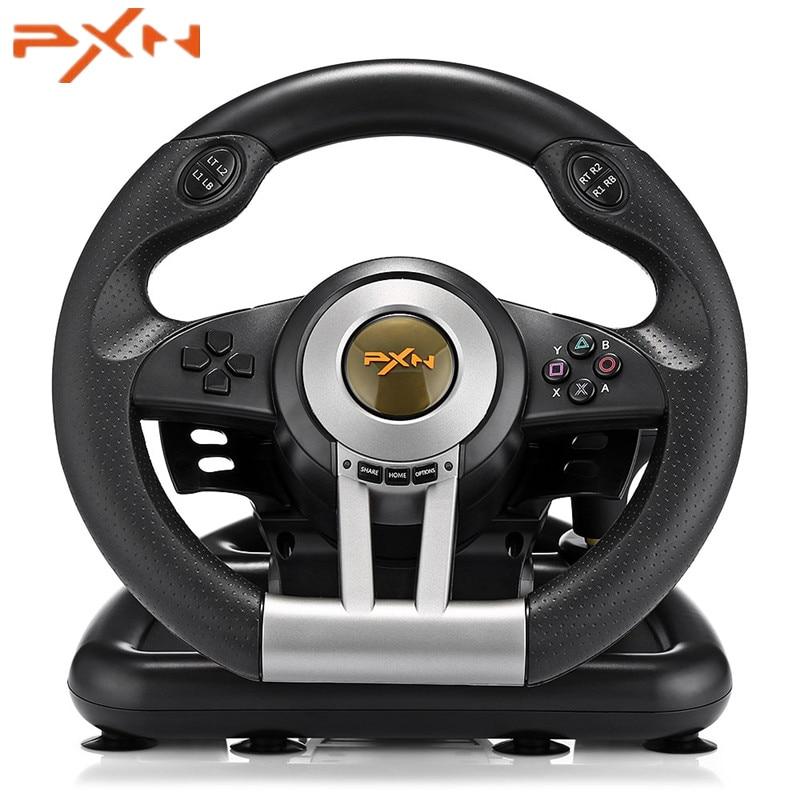 PXN V3II Racing volant de jeu USB Vibration double moteur avec Pliable Pédale pour PS3 PS4 Xbox D'un Jeu Vidéo télécommande