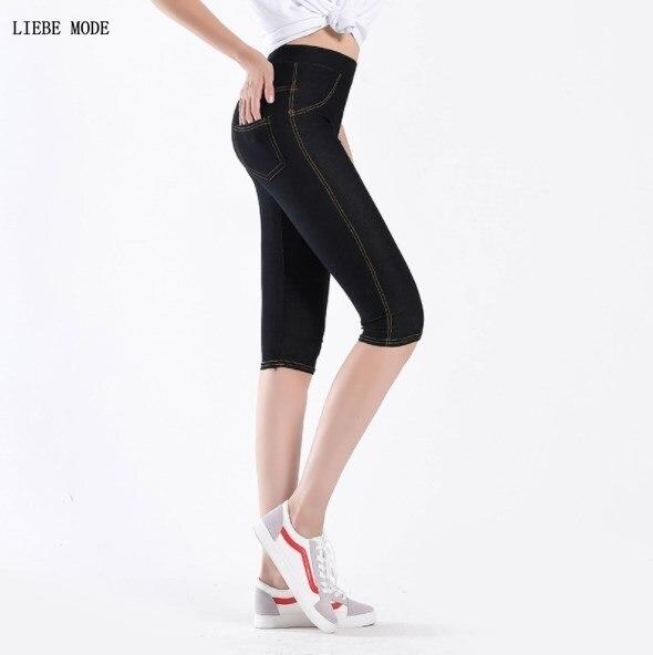 Womens High Waist Knee Length Legging Women Stretch Skinny Capris Pants Faux Denim Jean Thin Leggin Summer Sheer Leggings Woman in Leggings from Women 39 s Clothing