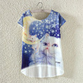 2017 MITTELMEER New kawaii t Shirt Women harajuk Crew Neck Top Short Sleeve Moon cat irregular T-Shirt Summer Tees For Ladies