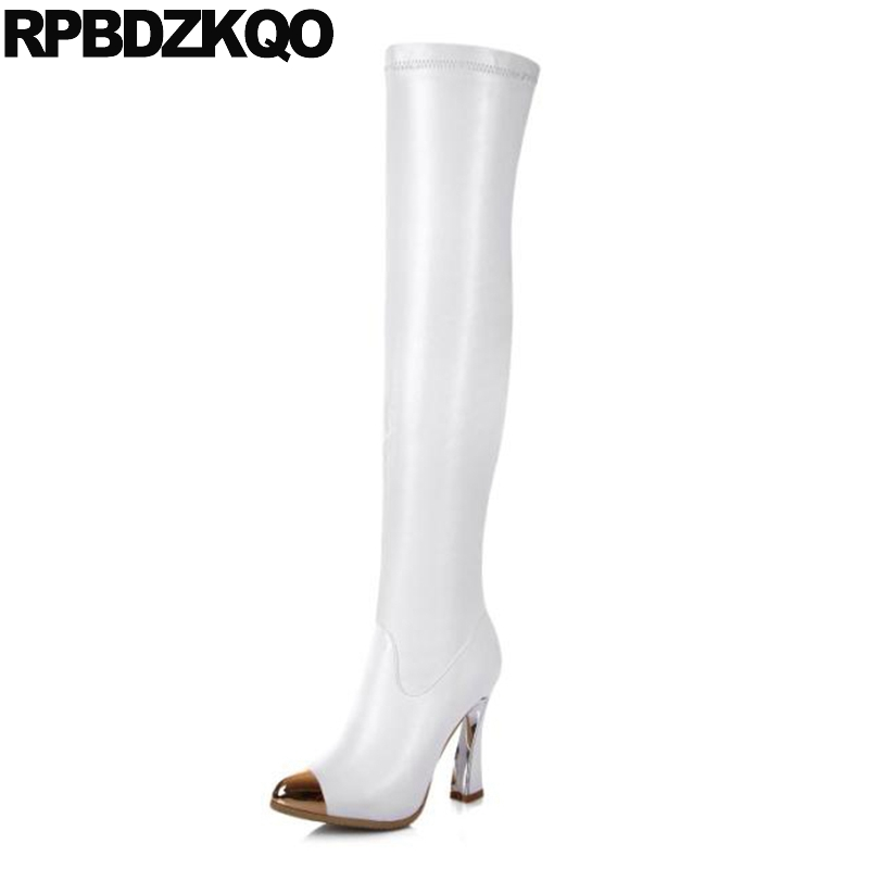 White Knee High Heel Luxury Shoes Over The Stretch Genuine Leather Women Extreme Metal Boots Slim Long Pointed Toe Thick Sexy qiu dong in fashionable boots sexy and comfortable women s shoes the new national style high heel heel thick heel