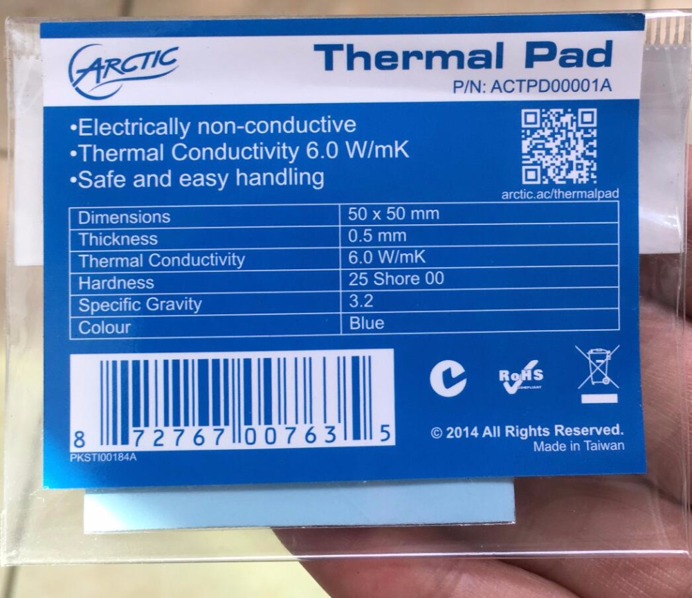 Silicone Based Thermal Pad Arctic Thermal Pad 50 x 50 x 1.0 mm