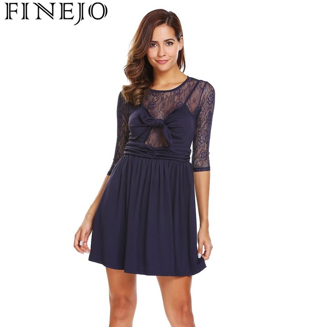 e31b1412c487f FINEJO Lace Dress Fashion 2017 New Women 3/4 Sleeve Lace Patchwork Mini  Pleated Dresses Slim Party Casual Dress Vestidos-in Dresses from Women's ...