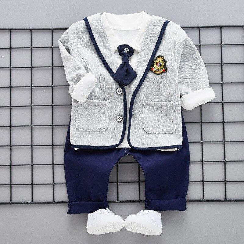 Hot Sale Autumn Baby Boys Clothes Sets Gentleman Tie Infant Cotton Suits 3 pcs Long Coat+T Shirt+Pants Casual Kid Children Suits