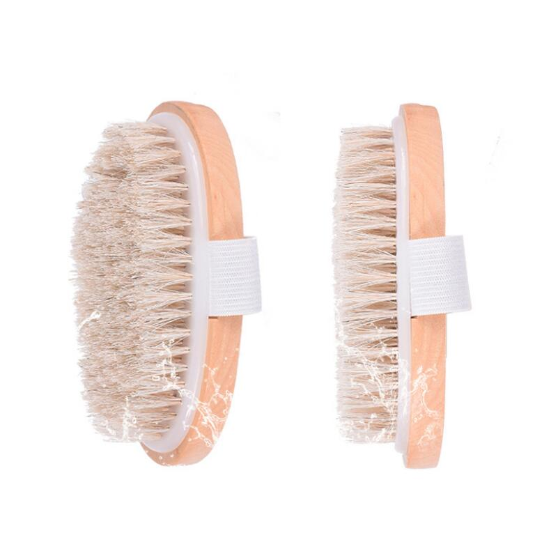 Female Dry Skin Body Brush Massager Natural Bristles Wood Improve Skin's Healthy LX7072