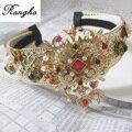 Nueva Moda Barroca Joyería Crystal Hairbands Pelo mujeres Accesorios para el Cabello de La Corona de La Boda de Oro Vendas de La Flor de La Perla Nupcial Tiara