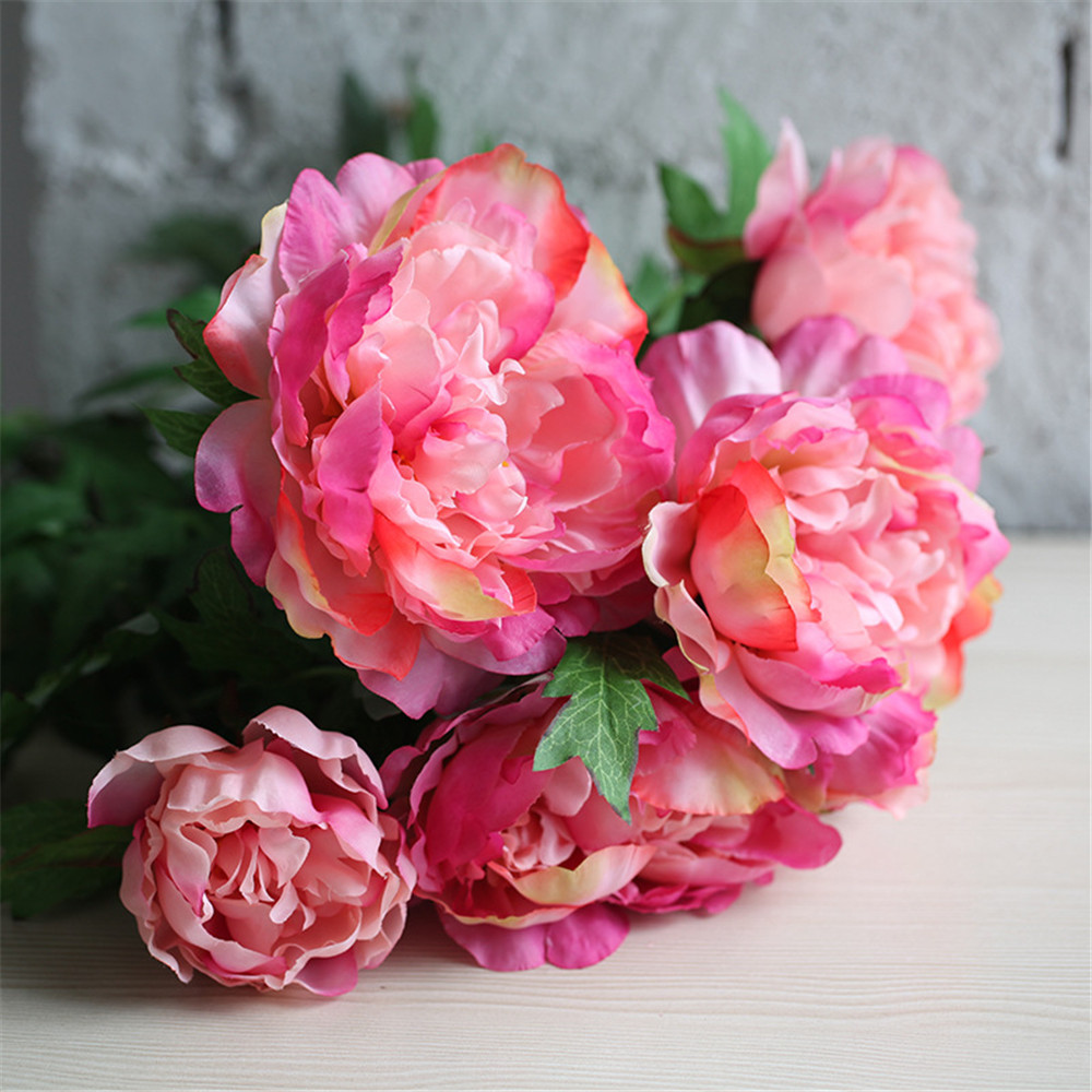 Fake Flowers Artificial Peony Bouquet Silk Rose Bridal Bouquet