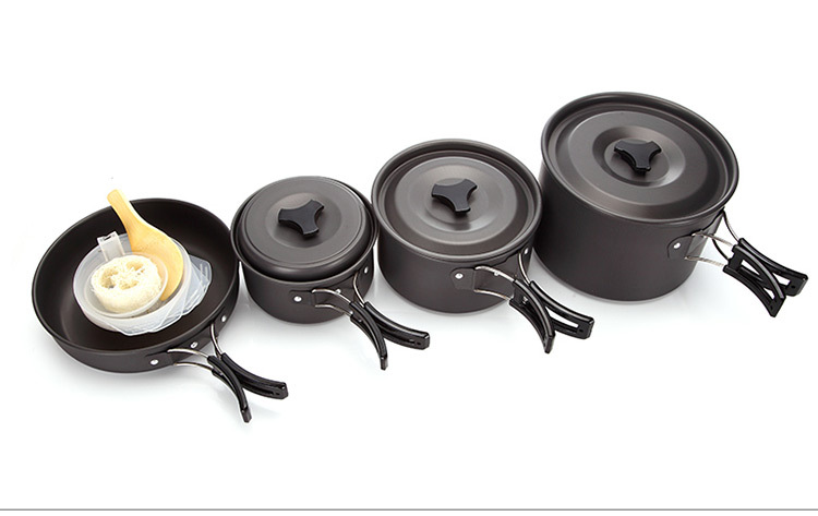 4 5 persons camping tableware outdoor cooking set camping cookware travel tableware Non stick pots pan
