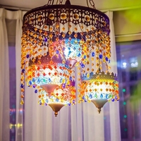 Bohemian pendant light Southeast Asia Living Room Dining Room Lighting Tempered Glass Mosaic Color Glass pendant Lamp WL5051357