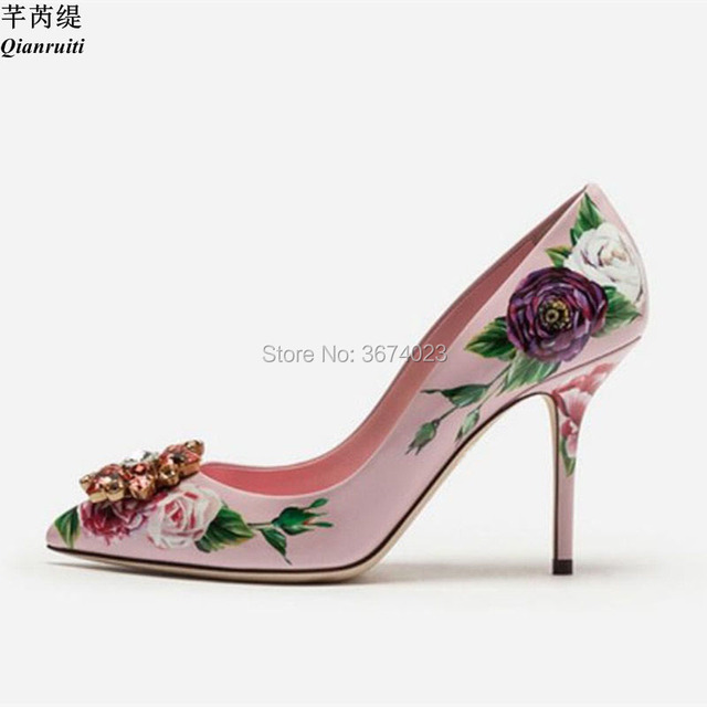 Qianruiti Crystal Wedding Pumps Women Floral-Printed Leather High Heels  Rose Diamonds Party Stilettos Bridal Heels Women Shoes 6c0eeb6b00d6