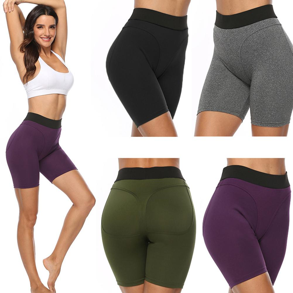 Yoga Solid Color Half-length Tights Shorts For Sports  Women Fitness Casual Lift Butt Tight