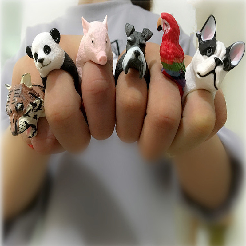 ULEX Trendy 3D Printing Cute Baby Animal Finger Ring Anel Mas