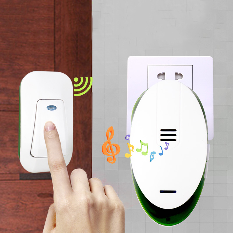 Office Home Wireless Door Bell 220V Cordless Ding Dong Door Chime EU Plug 1 Plug-in Receiver 1 Push Button Transmitter
