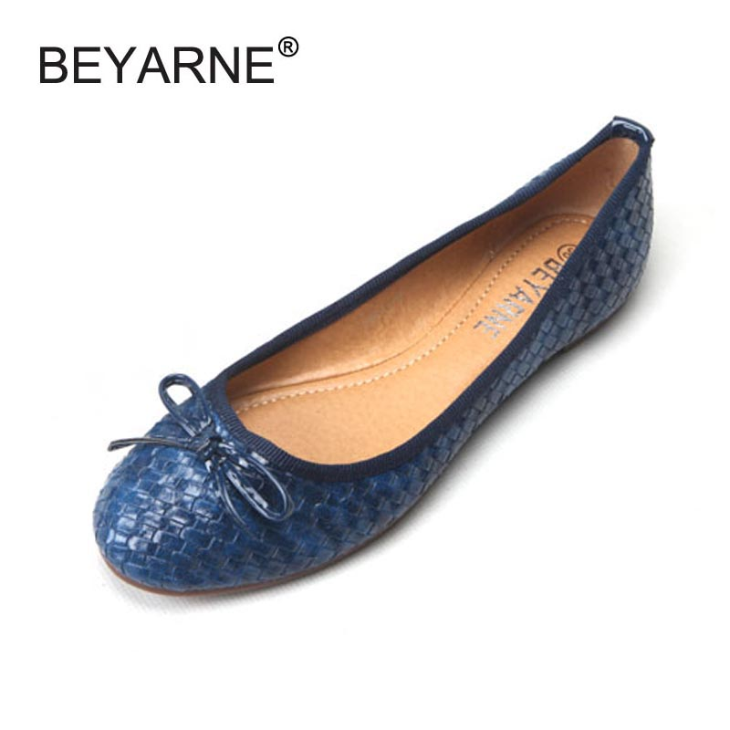 Ladies Casual Flat Shoes Spring Bowtie Flats Women Round Toe Slip-on Ballet Flats Knitted Pu Leather Ballerinas Flats For Women baiclothing women casual pointed toe flat shoes lady cool spring pu leather flats female white office shoes sapatos femininos