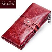 dff0996b24192 Kontaktieren der Frauen Geldbörsen Lange Zipper Echtem Leder Damen  Handtasche Taschen Mit Handy Halter Hohe Qualität Karte Halte.