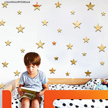 20Pcs Stars Mirror Stickers Acrylic decorative wall stickers Cartoon  Kids Room Decorate Removable