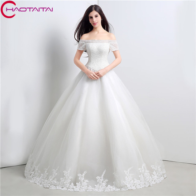 2018 New Style Ivory Wedding Dresses Short Sleeves Beaded Bridal Ball Gowns Nice Fabric