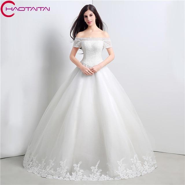 2018 New Style Ivory Wedding Dresses Short Sleeves Beaded Bridal ...