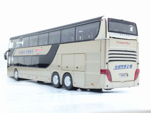 Image 5 - High quality 1:32 alloy pull back bus model high simitation Double sightseeing bus flash toy vehicle kids toys free shipping