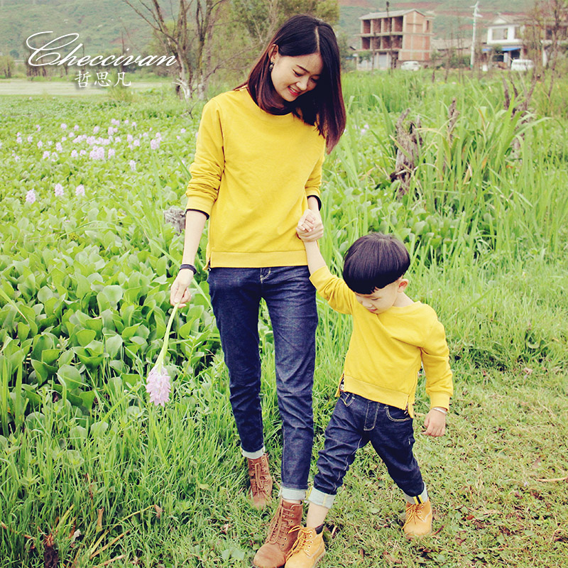 Checcivan Family Fashion T-shirt 2017 Spring Mother and Son Open Sweep T-shirt 3-7Y Cheildren 100% Cotton Clothes Boys Sweaters checcivan family summer t shirts mother