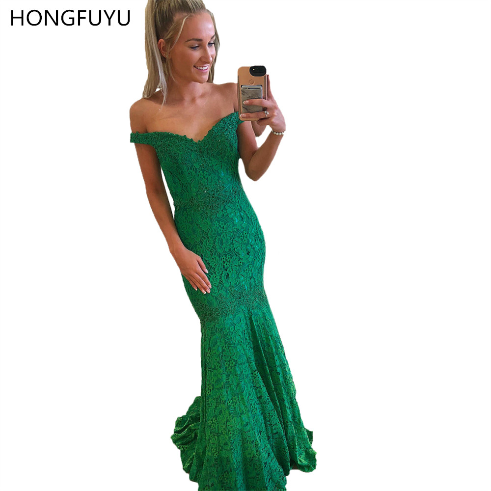 HONGFUYU Off Shoulder Lace   Prom     Dresses   with Crystals Floor Length robe de soiree Mermaid Evening Gowns Party Formal   Dress   Long