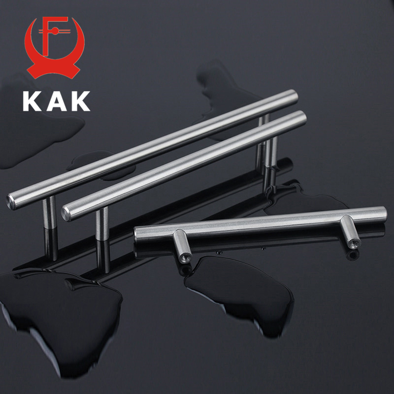 KAK 4 ~ 24'' Stainless Steel Handles Diameter 10mm Kitchen Door Cabinet T Bar Straight Handle Pull Knobs Furniture Hardware 4pcs naierdi c serie hinge stainless steel door hydraulic hinges damper buffer soft close for cabinet kitchen furniture hardware