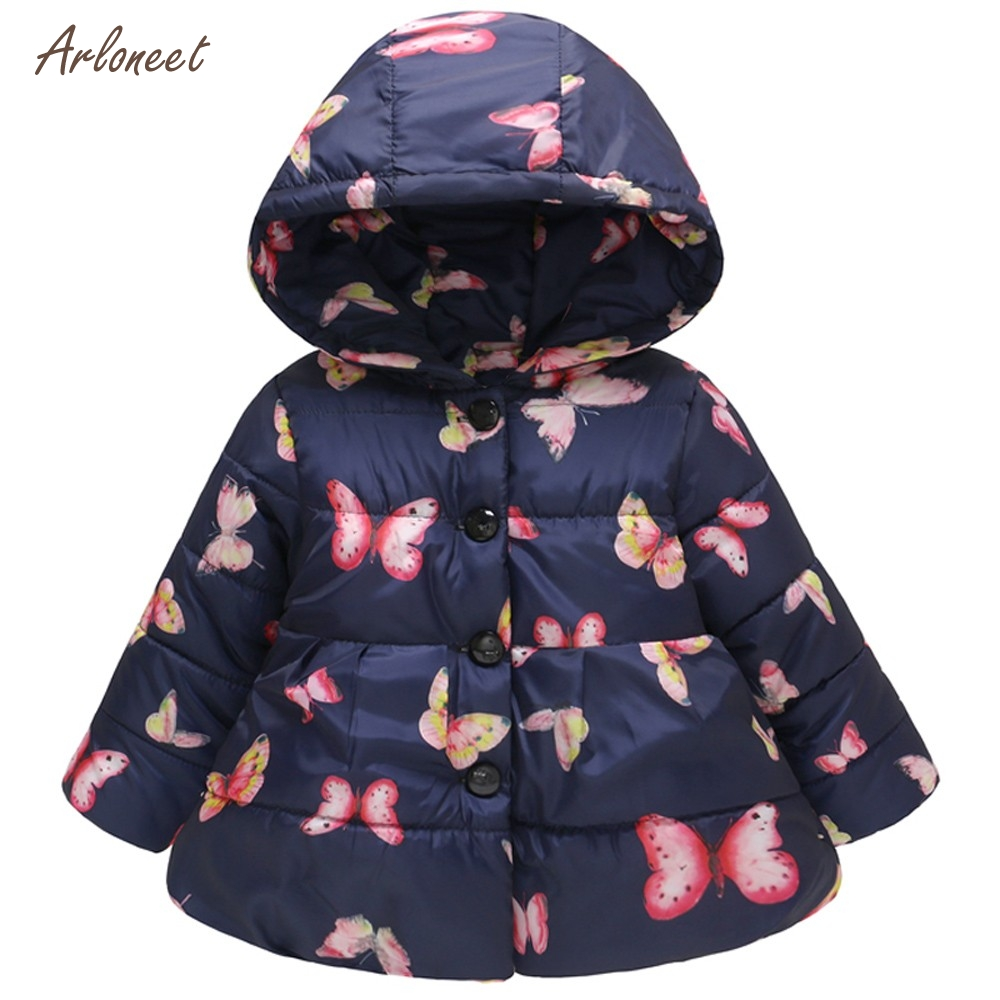 ARLONEE Infant Girls Coat Autumn Winter Long-sleeved Butterfly Print Hooded Button Padded Warm Cotton Windproof Jacket Outerwear