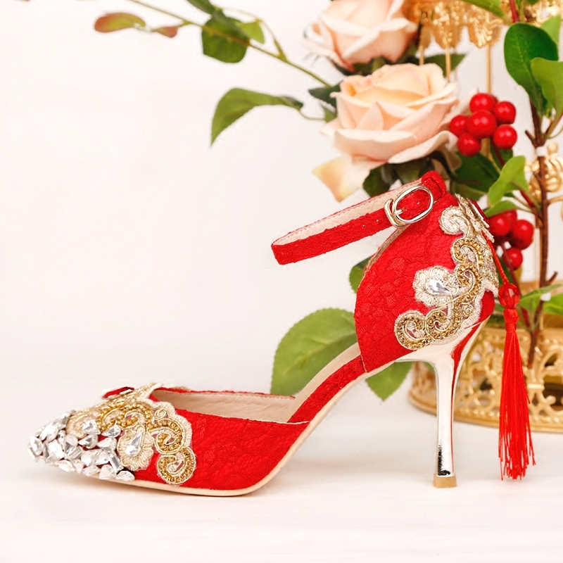 Brand Women Pumps Flock High Heels Women Pumps Glitter High Heel 8 CM Pointed Toe Shoes Woman Sexy Wedding Shoes Red 2018 fashion delicate sweet wedding bowknot sexy high heel shoes side hollow pointed women red high heels pumps plus size