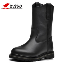 Z.Suo women's boots. Genuine Leather women motorcycle boots, high-quality in-tube retro fashion western boots woman  zsgty16009N