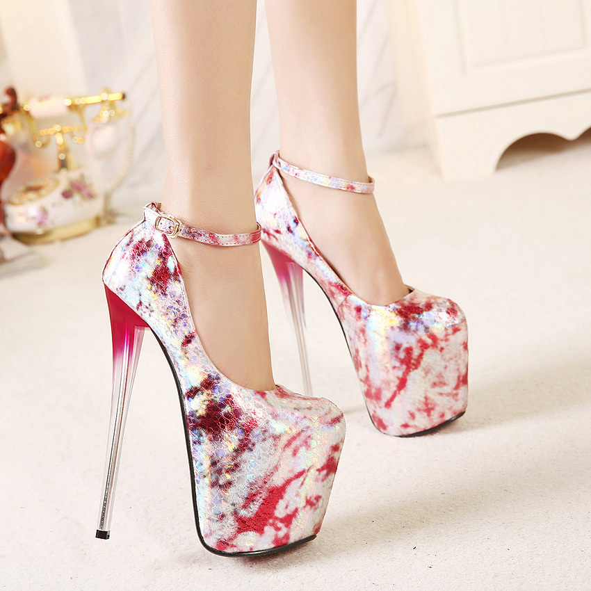 2015 New Fashion Summer Style Women's Sexy Printing Leather Red Bottom 19 CM Ultra High Heels Platform Party Pumps Shoes Size 40 - Collection store