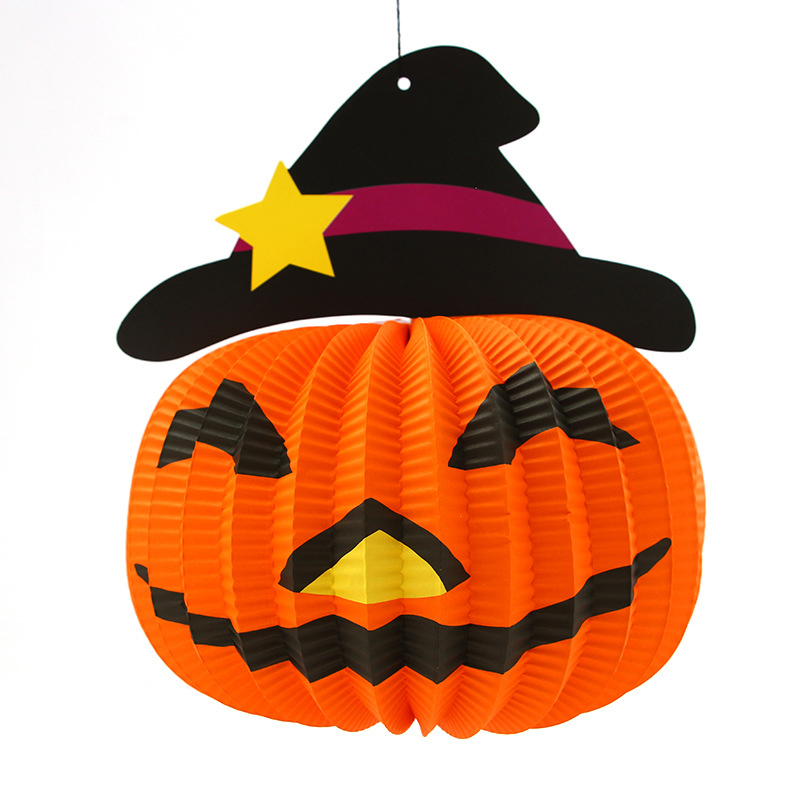 hot sales halloween decorations pumpkin lights halloween supplies cat ghost pumpkin folding paper lanternchina