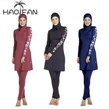 HAOFAN נשים בתוספת גודל פרחוני בגדי ים מוסלמיים חיג אב Muslimah האסלאמי בגד ים לשחות לגלוש ללבוש ספורט Burkinis S 6XL