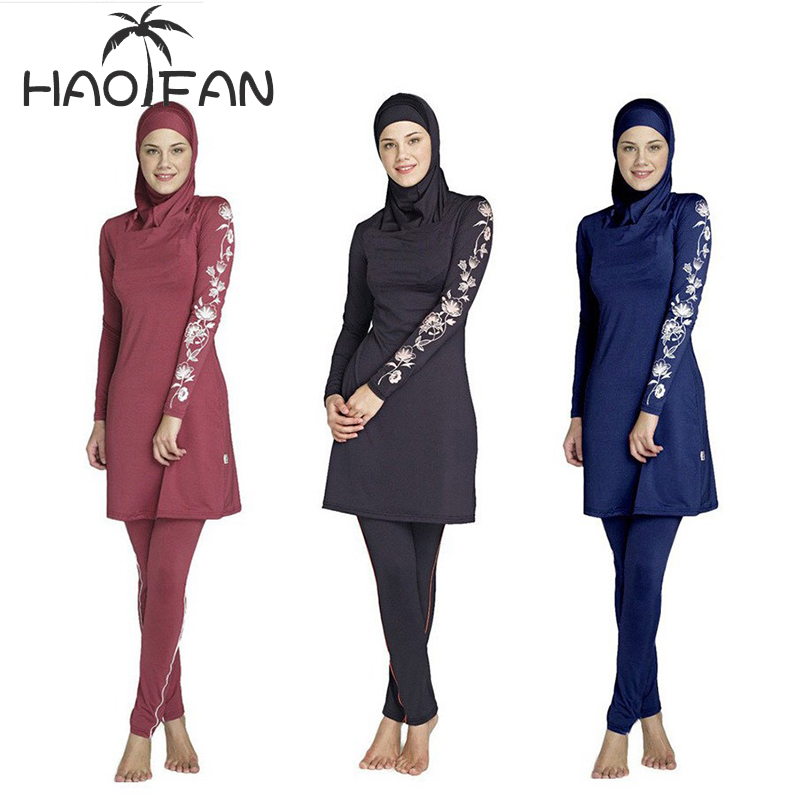 HAOFAN Islamic Swimsuit Hijab Surf-Wear Muslimah Burkinis Sport Women Plus-Size Floral title=