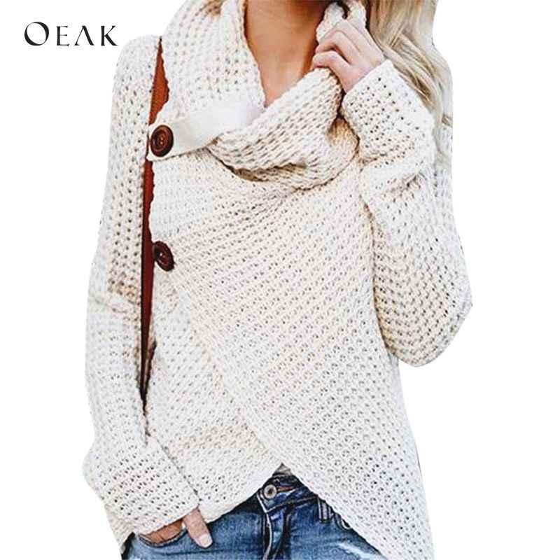 0181f3d907 OEAK 2018 Autumn Winter Warm Sweater Women Long Sleeve Scarf Collar Knitted  Sweater Cardigan Female Casual