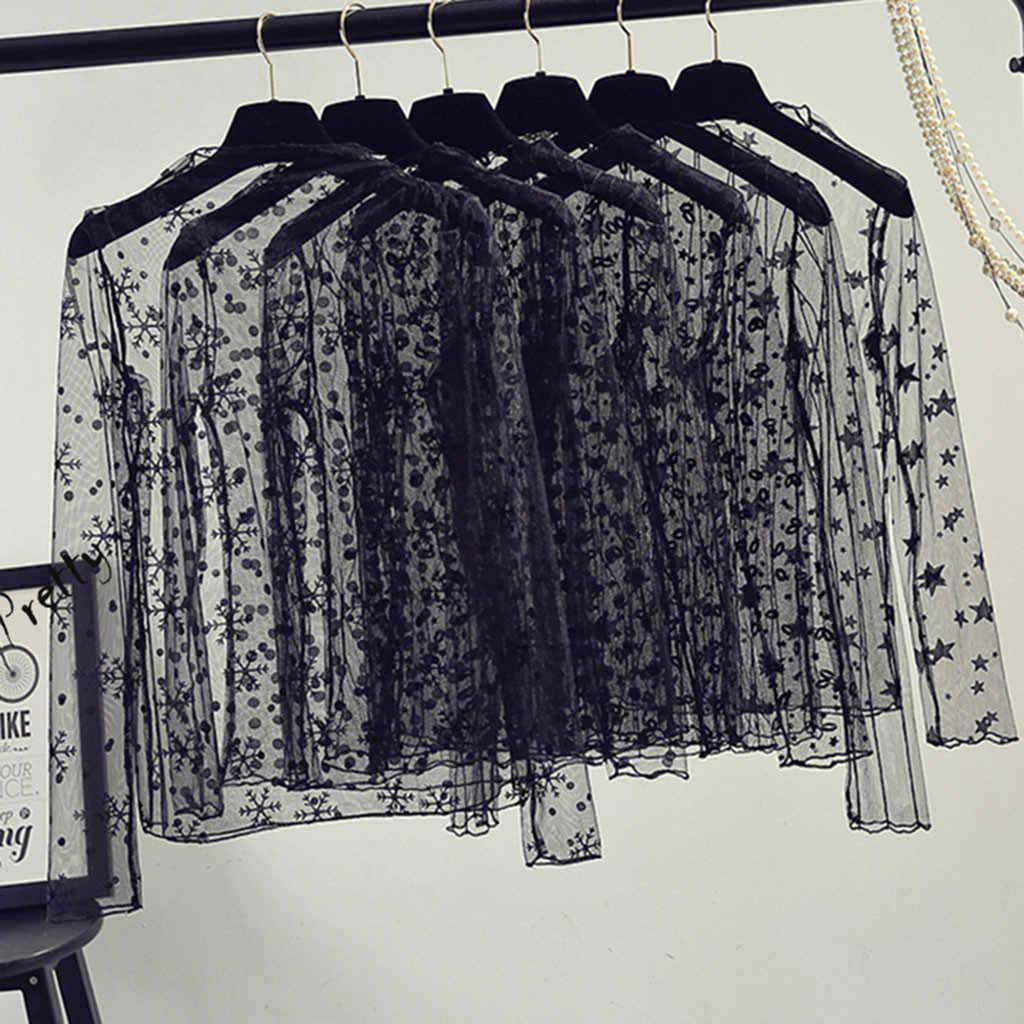Donne di Estate della molla Del Merletto Magliette e camicette Magliette Donne Magliette e camicette Sexy della maglia Tee See-through A Maniche Lunghe Puntino Nero Star A Righe t-shirt