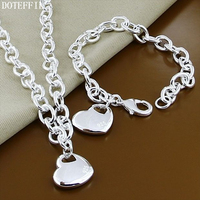 Classic Heart 925 Sterling Silver Charm Necklace Bracelet Women Fashion Pendant Silver Necklace Bracelet Jewelry Free