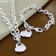 Classic Heart 925 Sterling Silver Charm Necklace Bracelet Women Fashion Pendant Silver Necklace Bracelet Jewelry Free Ship classic heart pattern bracelet for women